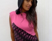 Upcycled Punk Hoodie Sweater - Sleeveless in Pink & Black                   Made in England UK