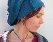 Eco Friendly Hat Teal Blue Upcycled Slouch Style                   Made in England UK