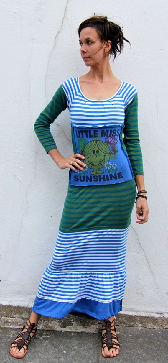 Little Miss Sunshine Upcycled Blue Stripey Long T Shirt Dress                   Made in England UK