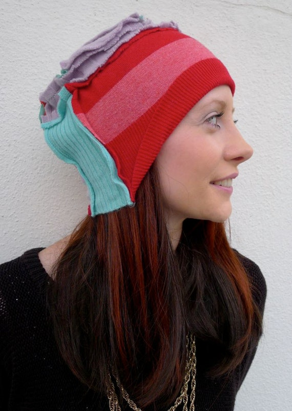 Red & Aquamarine Upcycled Slouch Hat Lambswool                                         Made in England,UK