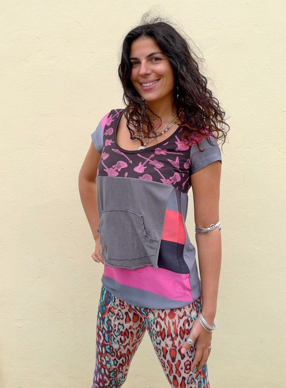 Pink & Gray Stripey Guitar print Upcycled T-Shirt                            Made in England UK