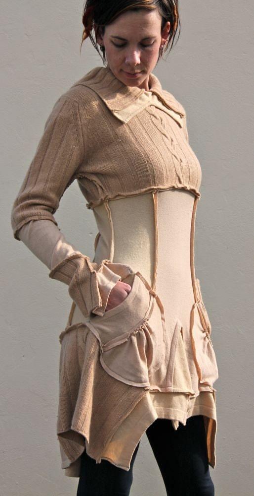 Caramel Beige Cashmere Upcycled Sweater Dress