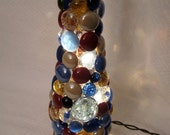 Blue/brown beer bottle light with blue topper