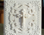 "Handmade Embossed Cross Card - 5.5"" x 5.5"" - Perfect for Easter, Baptism, Christening or Sympathy - Heavily Embossed with Lots of Dimension"