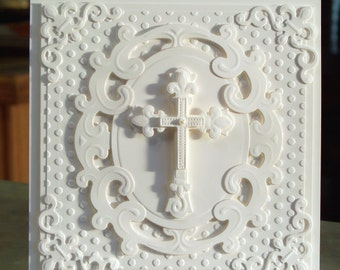 """Handmade Embossed Cross Card 5.5"""" x 5.5"""" Perfect for Easter, Baptism, Christening or Sympathy - Heavily Embossed"""