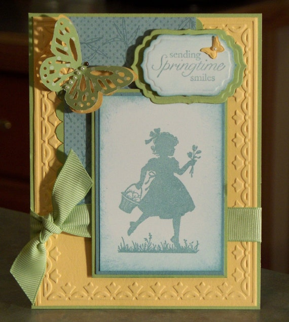 Handmade Card Stamped Art - Embossed Stampin Up Easter Blossoms