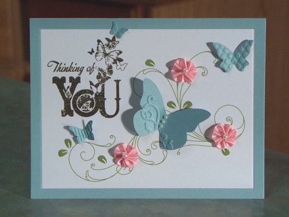 Thinking of You Sympathy Card with Die Cut Butterflies
