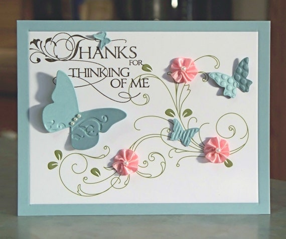 Thank You Card, Embossed Butterflies