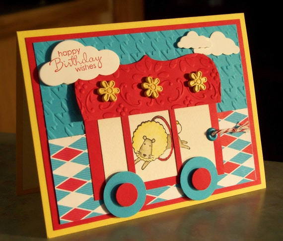 OOAK Birthday Card, Lion in a Circus Cage