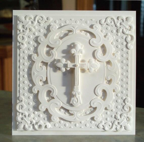 Handmade Embossed Cross Card Perfect For Easter Baptism