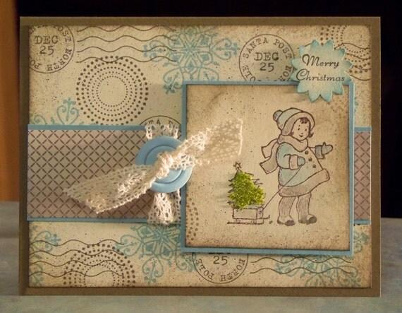 Adorable Christmas Card, Stampin Up Greeting Card Kids