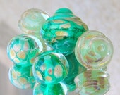Lampwork Beads, Pebbles in Shallow Sea, Summer Fashion, Handmade Lampwork Jewelry supplies