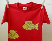 SALE Red Childrens T- shirt  with Yellow Fish,  Hand-painted  Kids, Toddlers Tee Shirt,  Age: 3 to 4