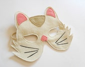 White Cat Carnival Kids Animal Mask, Children Kitty Felt Mask, Dress up Costume Accessory, Boys, Girls, Toddlers Felt Pretend Play