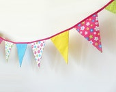 Summer Party Bunting, Birthday Garland, Girls Room Decor, Fabric Banner, Party Decoration Indoor, Outdoor, Photo Prop - Ready to Ship