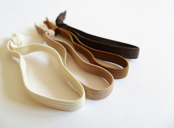Set of 4 brown elastic hair ties for men hair accessory for boys