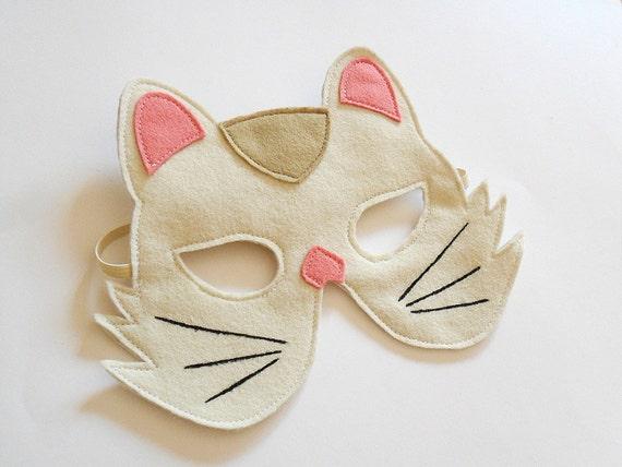 White Cat Carnival Kids Animal Mask, Children Kitty Felt Mask, Dress up Costume Accessory, Boys, Girls, Toddlers Felt Pretend Play