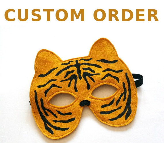 Tiger Mask and Tail Set for Children, Kids Animal Costume, RESERVED for Kendra