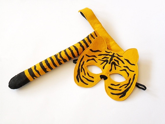 Tiger Carnival Costume Kids Tiger Mask and Tail Childrens  Eco Friendly Toddler Animal Dress up Pretend Play Felt Toy