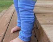 NEW ITEM Blue\/Green Striped LONGER LENGTH Baby Arm\/Leg Warmers