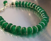 Emerald Gemstone Bracelet with Natural Faceted Emerald Rondelles and Sterling Silver