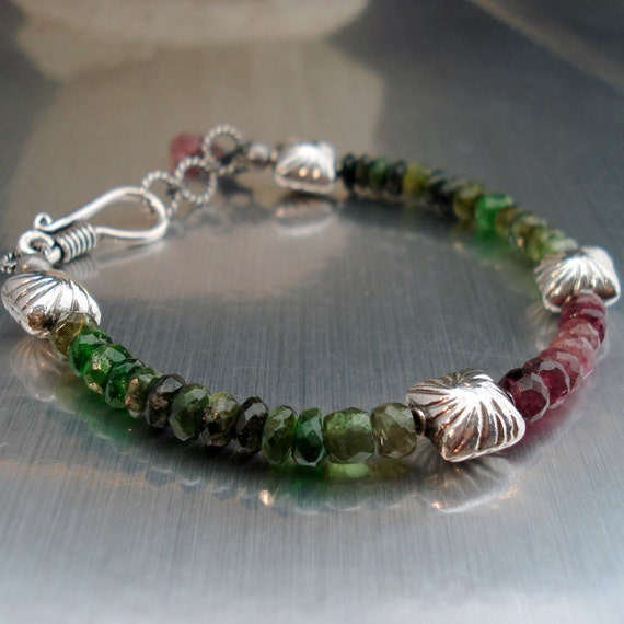Tourmaline Gemstone Bracelet with Green and Pink Watermelon Tourmaline Sterling Silver Beads and Clasp