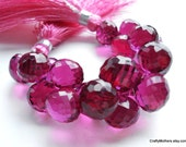 SALE - Red Violet Quartz Faceted Onion Briolettes, 9mm - Matched Pair