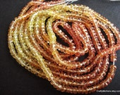 "SALE - Shaded Padparadscha Sapphire Microfaceted Rondelles, 3mm - 4"" strand"