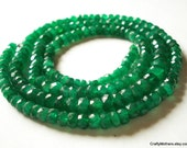 """SALE - BRIGHT Green Zambian Emerald Faceted Rondelles, 4.5-5.2mm - 2.25"""" strand"""