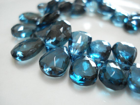 CLEARANCE - London Blue Topaz Faceted Pear Briolettes - Set of 4 (flawed)