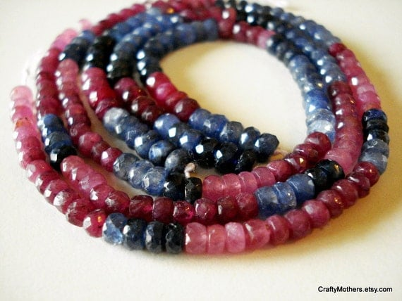 """SALE - Shaded Multi Sapphire Faceted Rondelles - 4"""" Strand"""