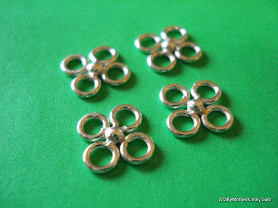 SALE - (4) Bali Sterling Silver Clover Links - 10 mm