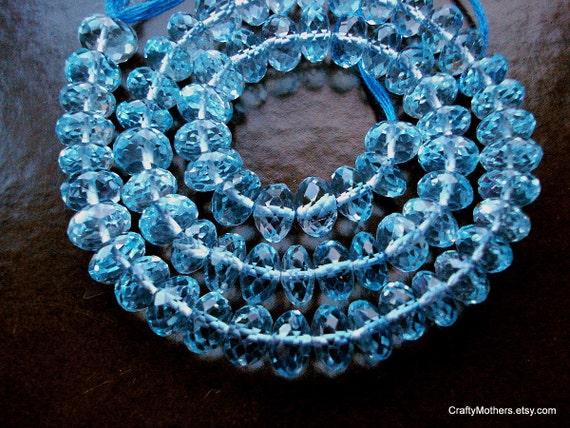 SALE - (10) Sky Blue Topaz Faceted Rondelles - 5.5mm