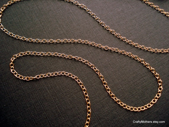14 kt Gold Filled Cable Chain (1.7mm x 2mm) - 18 inches, 28 gauge, necklace, lightweight, DIY jewelry supplies