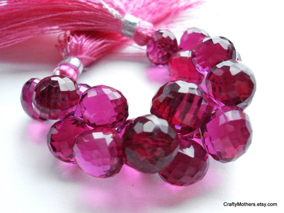 SALE - Red Violet Quartz Faceted Onion Briolettes Trio