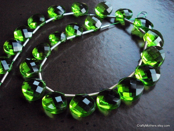 SALE - FABULOUS Spring Green Quartz Faceted Heart Briolettes - Matched Pair 11mm
