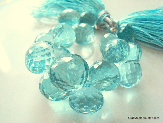 CLEARANCE - Aqua Blue Quartz Faceted Onion Briolettes - Matched Pair 11mm