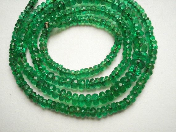 SALE - AAA Transparent Natural Emerald Faceted Rondelles, 3mm - Set of 20