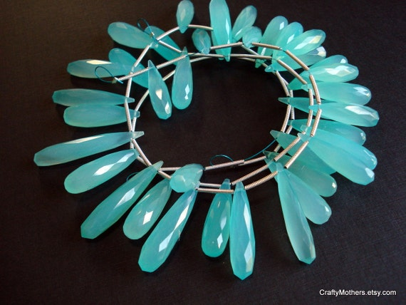 SALE - Apatite Blue Chalcedony Faceted Elongated Briolettes, 7mm x 34mm - Matched Pair