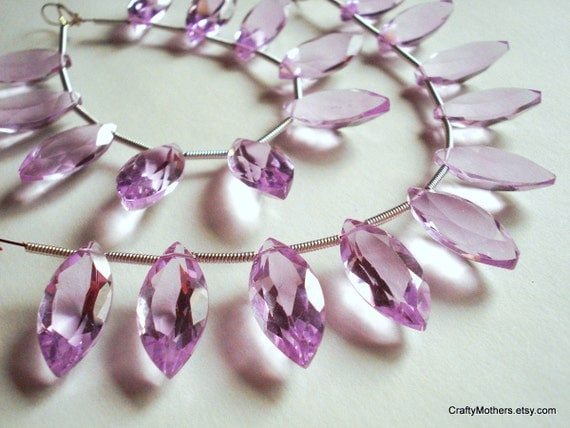 SALE - AAA Lavender Pink Quartz Faceted Marquise Briolettes - (1) Matched Pair