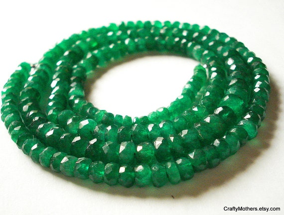 """SALE - BRIGHT Green Zambian Emerald Faceted Rondelles, 3.8-4mm - 3"""" strand"""