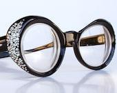 Rhinestone Studded Oval Eye Glasses Frames by Swank Frame France