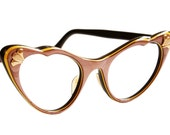 Brown and Yellow Cat Eye Glasses by American Optical
