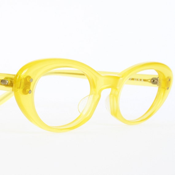 Yellow Vintage Cat Eye Glasses or Sunglasses Frames