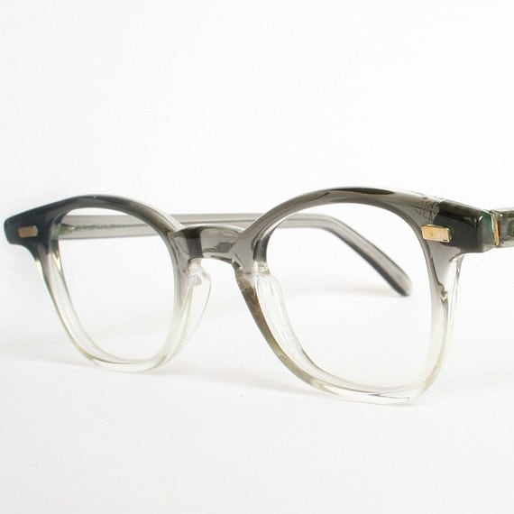 Vintage 50s Mens Grey Fades Eyeglasses New Old Stock (Small)