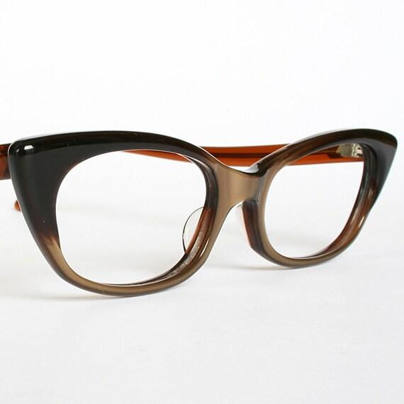 Vintage Satiny Brown Cat Eye Glasses New Old Stock