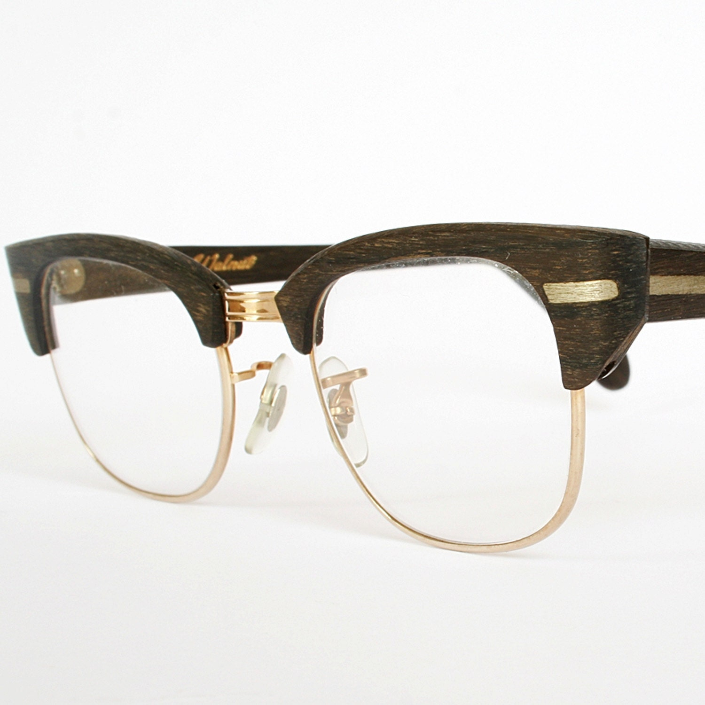 Vintage 50s Eyeglass Frames Mens : Vintage 50s Mens Wood Grain Eyeglasses New Old Stock