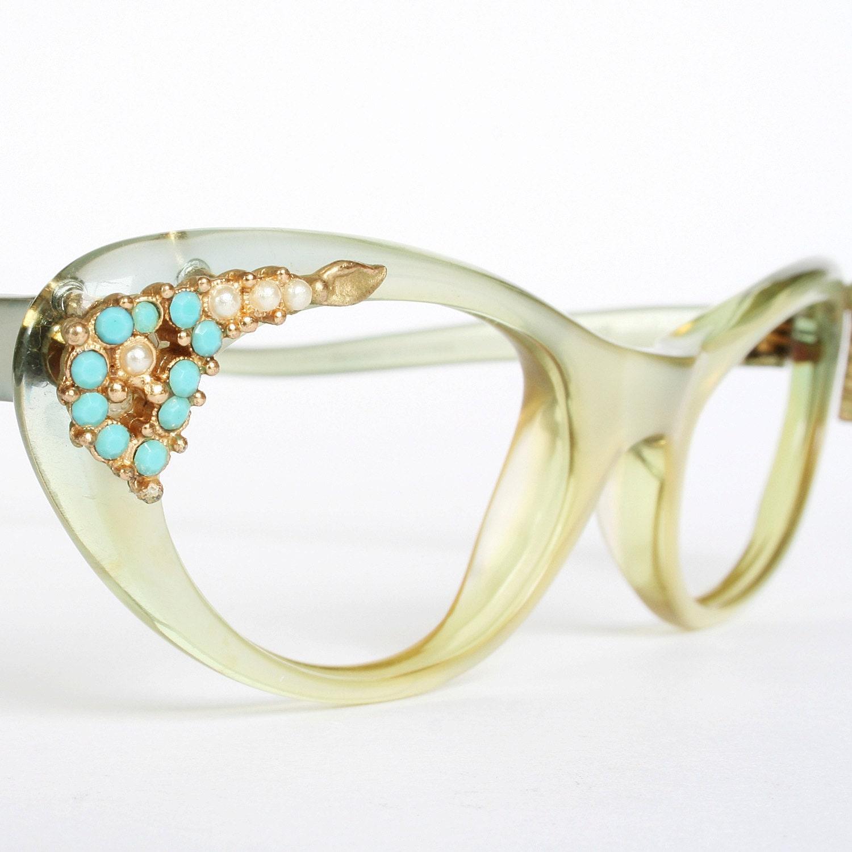 RESERVED Rare Green Christian Dior Vintage Cat Eye Glasses