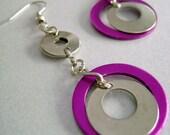 Outsiders - Fuchsia and Silver  Creative Earrings