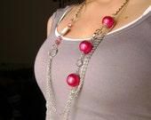 Long necklace Asymmetrical Glam - Fun fashion design long fuchsia Necklace
